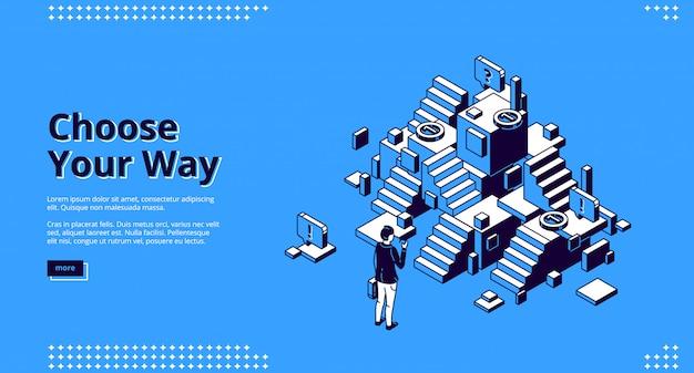 Choisissez Votre Chemin Page De Destination Isométrique, Bannière Web Vecteur gratuit