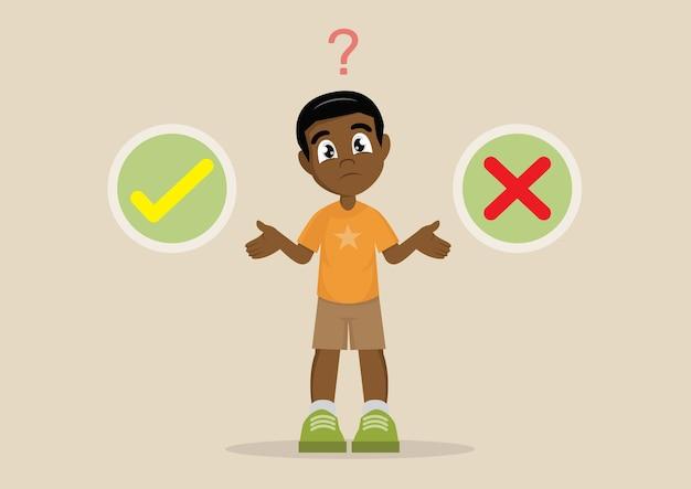 Le choix de african boy entre le bien ou le mal Vecteur Premium