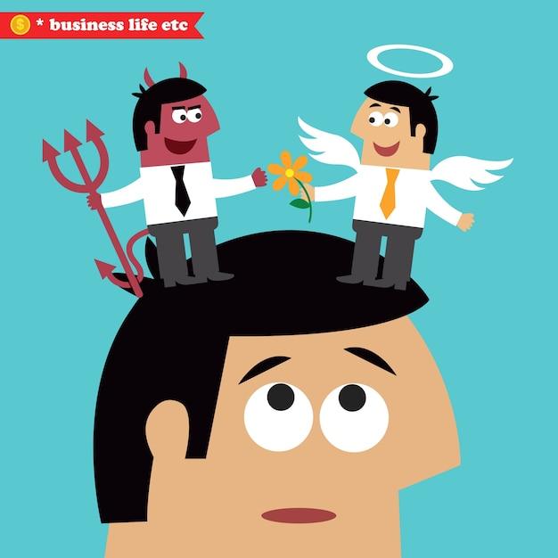 Choix moral, éthique des affaires et tentation Vecteur gratuit