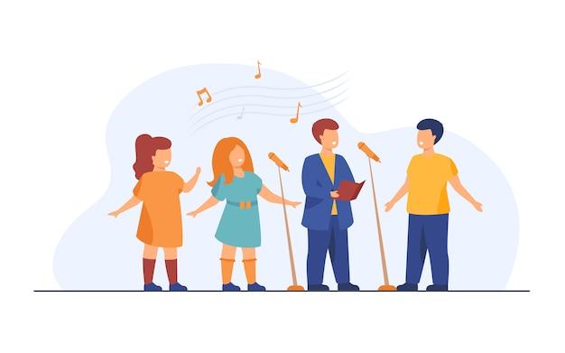 Chorale D'enfants Chantant Une Chanson Dans L'église Illustration Plate Vecteur gratuit