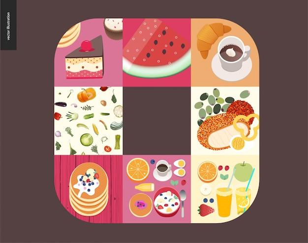 Choses simples - repas Vecteur Premium