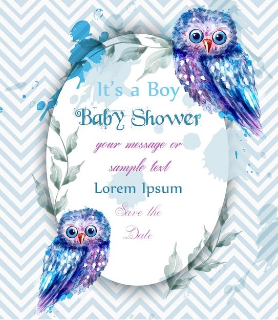 Chouette bleue mignonne carte bébé douche invitation aquarelle Vecteur Premium