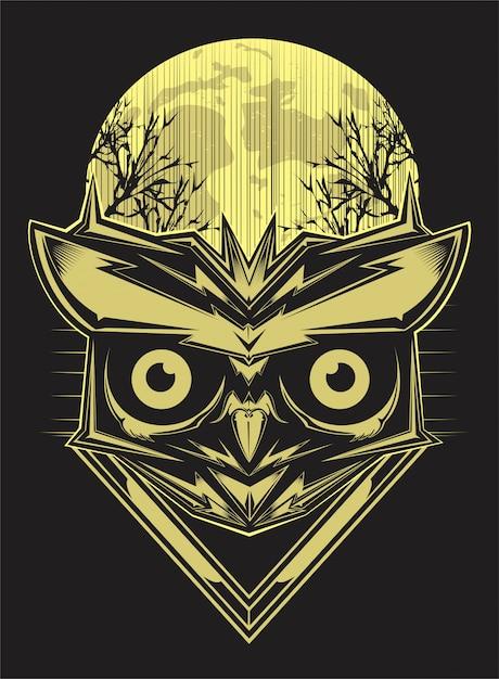 Chouette sur fond de silhouette de forêt et de la lune. dessin de main de vecteur Vecteur Premium