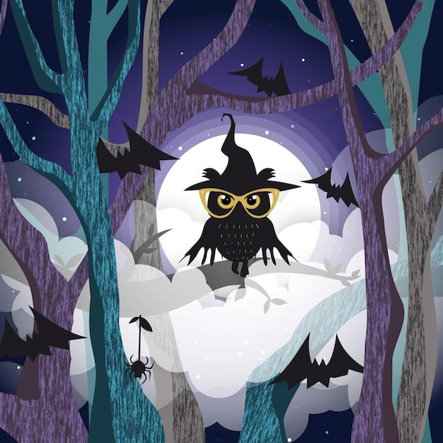 Chouette Noire Sur Le Fond De L'arbre De La Pleine Lune Vecteur Premium
