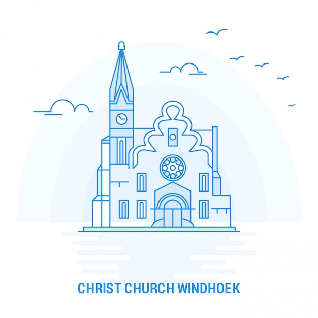 Christ church windhoek point de repère bleu Vecteur Premium