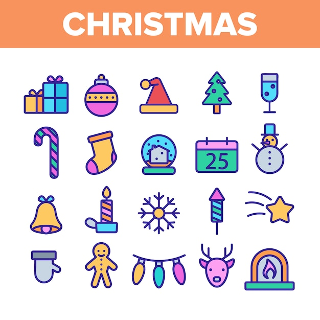 Christmas elements icons set Vecteur Premium