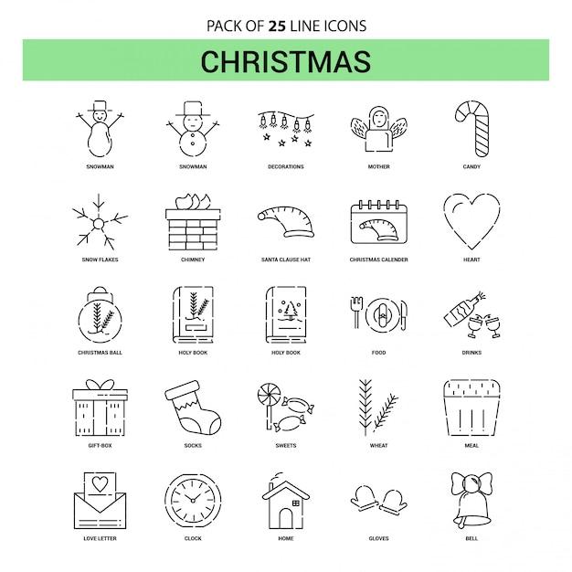 Christmas line icon set - 25 style de contour en pointillé Vecteur Premium