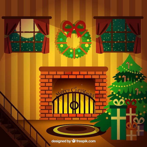 Christmas Room Cosy Vecteur gratuit