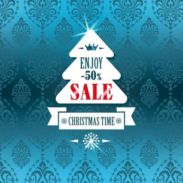 Christmass tree sale label Vecteur gratuit