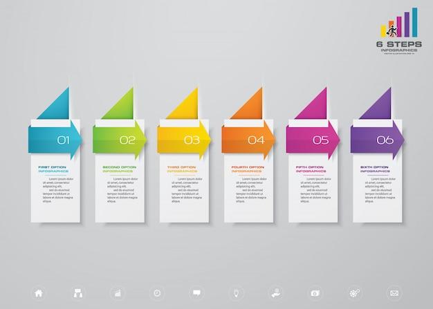 Chronologie en 6 étapes avec tableau des éléments infographie flèche. Vecteur Premium