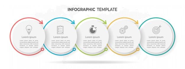 Chronologie cercle infographique 5 options Vecteur Premium
