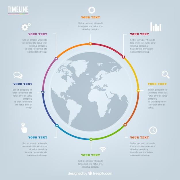 Chronologie circulaire infographie Vecteur gratuit
