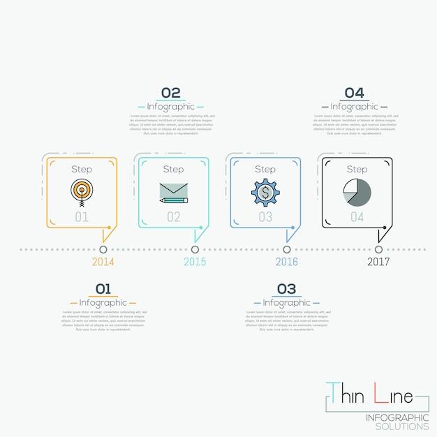 Chronologie Horizontale Avec 4 éléments En Forme De Bulles De Texte Et De Zones De Texte Vecteur Premium