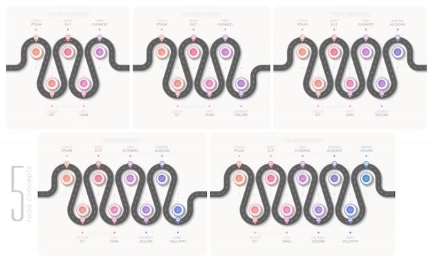 Chronologie infographique de la carte de navigation Vecteur Premium