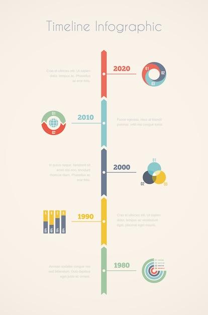 Chronologie Infographique En Cinq étapes Vecteur gratuit