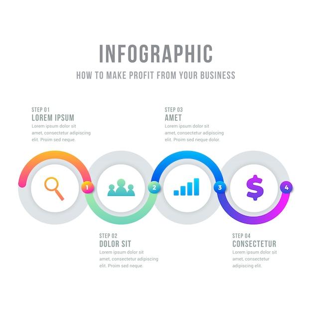 Chronologie infographique circulaire avec effet de dégradé Vecteur gratuit