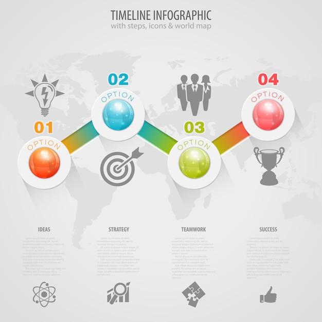 Chronologie infographique Vecteur Premium
