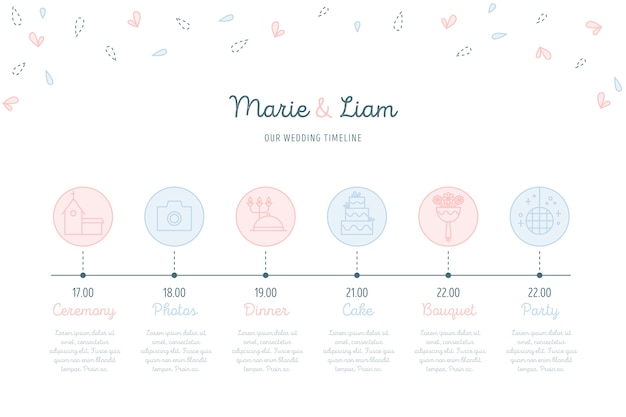 Chronologie de mariage dans un style linéaire Vecteur gratuit