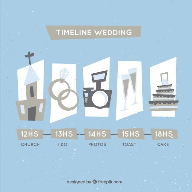 Chronologie de mariage dans le style vintage Vecteur gratuit