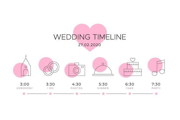 Chronologie de mariage avec motif coeur rose Vecteur gratuit