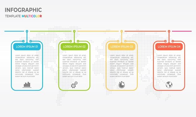 Chronologie de modèle de conception de ligne mince d'infographie 4 options. Vecteur Premium