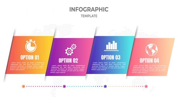 Chronologie moderne infographique 4 options Vecteur Premium