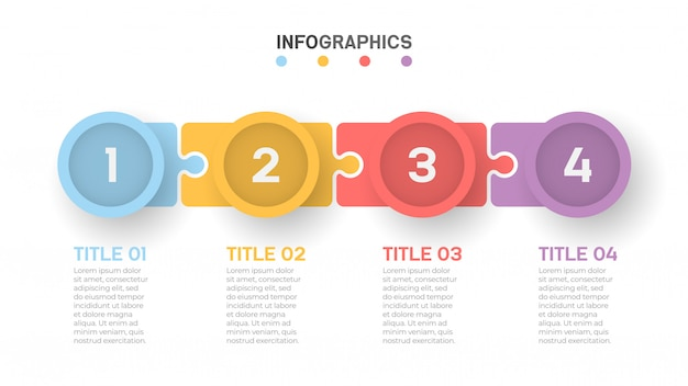 Chronologie Des Processus Métier Infographie Avec 4 étapes. Vecteur Premium