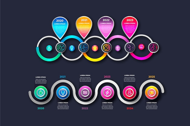 Chronologie réaliste brillant infographique Vecteur gratuit