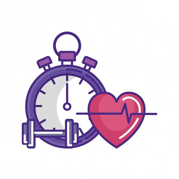 Chronomètre avec haltère et cardio coeur Vecteur Premium