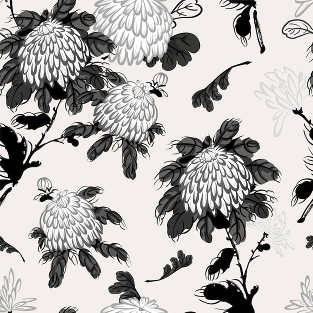 Chrysanthème fleurissant de vecteur dans le style chinois Vecteur Premium