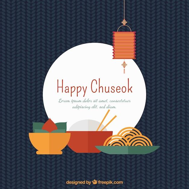 Chuseok composition avec un design plat Vecteur gratuit