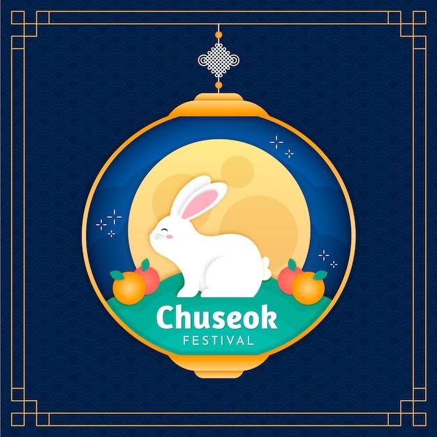 Chuseok Dans Le Thème De Style Papier Vecteur gratuit