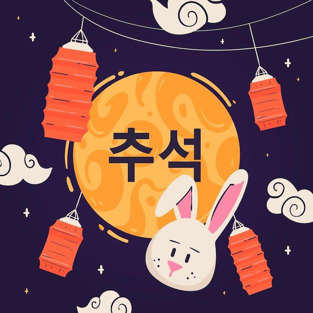 Chuseok Dessiné à La Main Avec Des Lanternes Et Un Lapin Vecteur gratuit