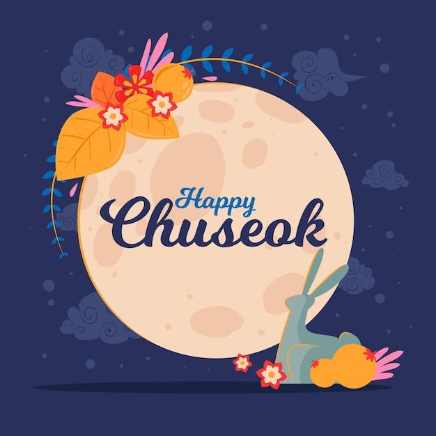 Chuseok Dessiné à La Main Avec Lune Vecteur gratuit