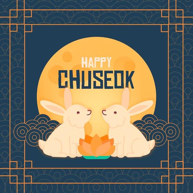 Chuseok Dessiné à La Main Vecteur Premium