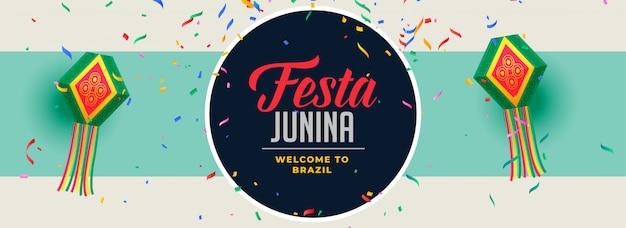 Chute de confettis bannière festa junina design Vecteur gratuit