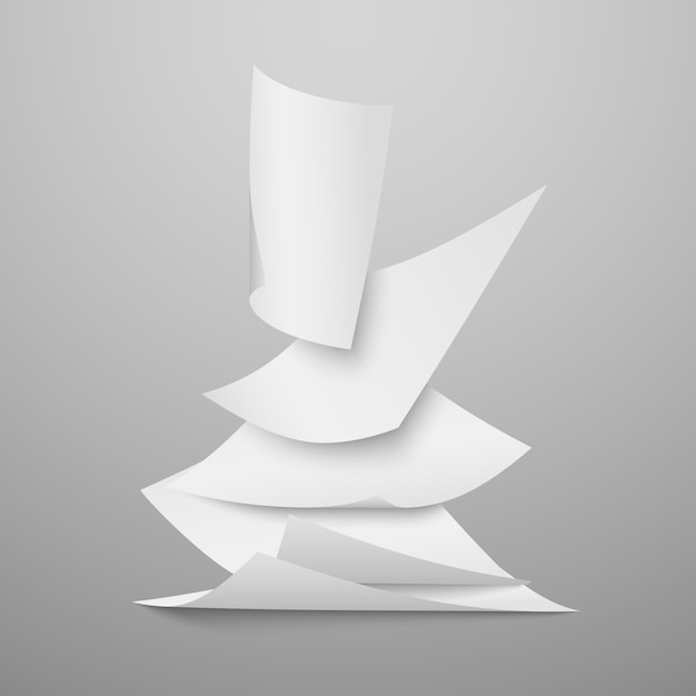 Chute de documents blancs vierges, pages vector illustration Vecteur Premium