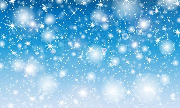 Chute De Neige. Avec Des Flocons De Neige. Ciel Bleu D'hiver. Texture De Noël. Fond De Neige Scintillante. Vecteur Premium