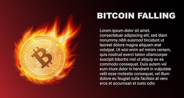 La Chute De La Pièce Bitcoin En Feu Pendant Le Marché Rouge Vecteur Premium