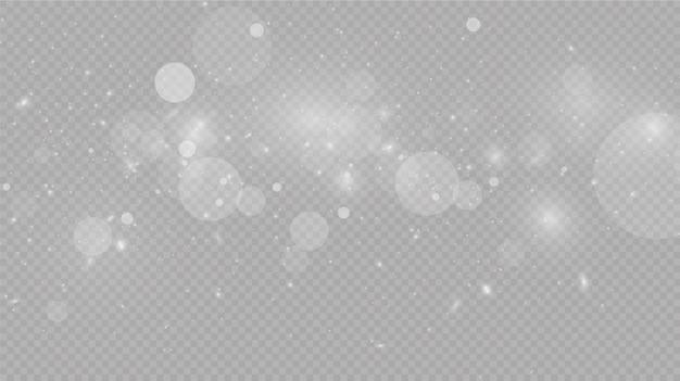 Chutes De Neige Sur Gris, Vecteur. Temps De Noël. Fond Effet De Lumière Brillante Vecteur Premium
