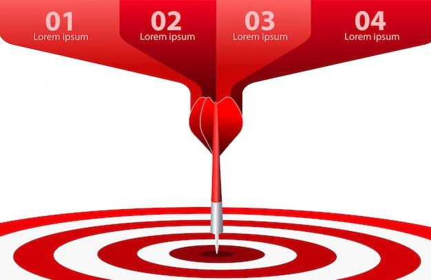 Cible de fléchette rouge. concept de réussite commerciale. illustration d'idée créative isolée Vecteur Premium