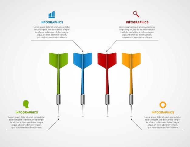 Cible de modèle infographique avec fléchettes. Vecteur Premium
