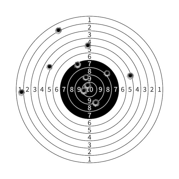 Cible de pistolet avec illustration vectorielle de trous de balle Vecteur Premium