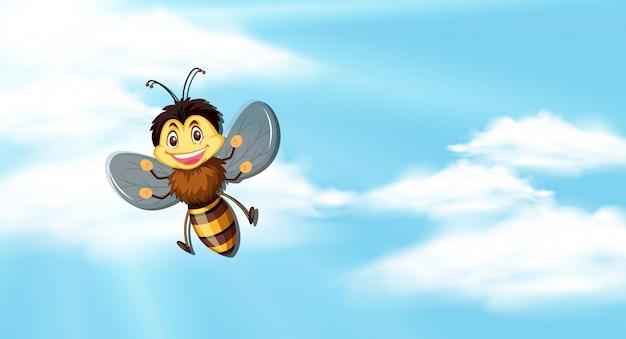 Ciel avec abeille qui vole Vecteur Premium