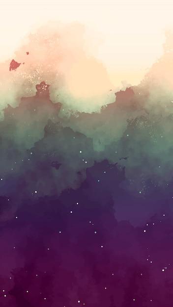 Ciel Aquarelle Avec Fond D'étoiles Vecteur gratuit