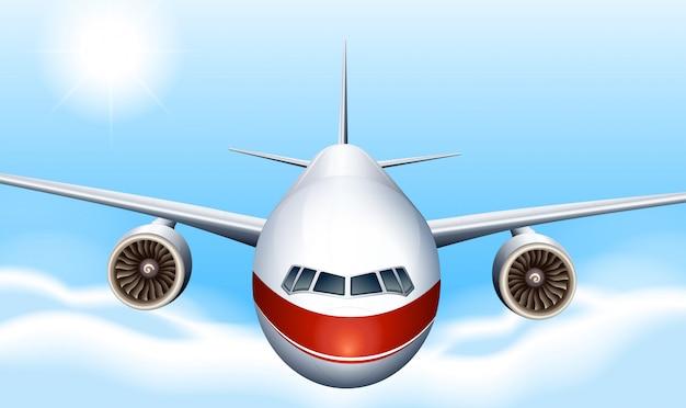 Un ciel avec un avion Vecteur gratuit