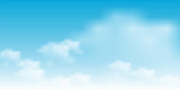 Ciel Bleu Avec Illustration De Nuages Blancs Vecteur Premium