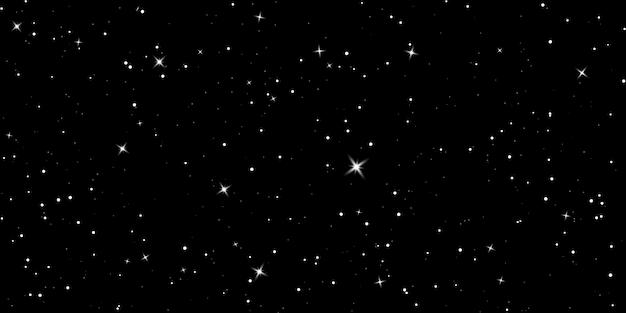 Ciel étoilé. Ciel Nocturne Sombre. Espace Infini Avec Des étoiles Brillantes. Univers Sombre Mystère. Vecteur Premium
