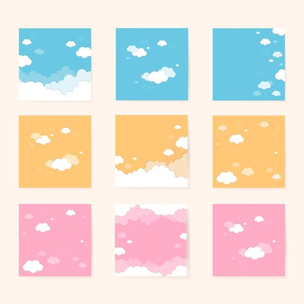 Ciel avec motif de nuages Vecteur gratuit