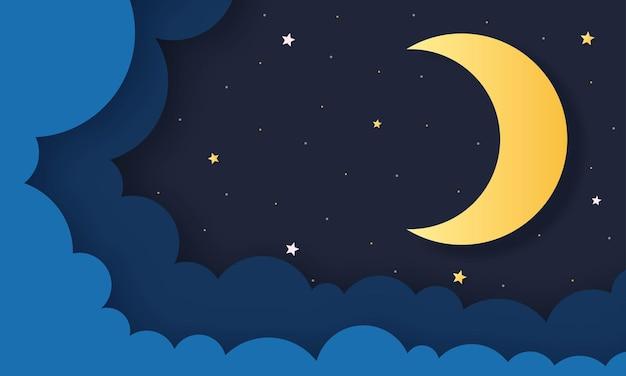 Ciel Nocturne. Lune, étoiles Et Nuages à Minuit. Style D'art De Papier. Vecteur Premium